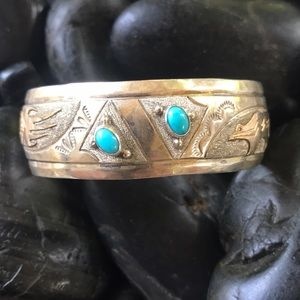 Vintage Alonzo Mariano Sterling 12GF Turquoise cuf